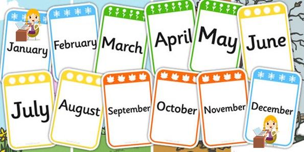 Ilustrasi 12 nama bulan dalam bahasa Inggris